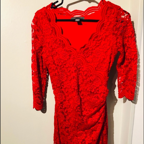 Red lace dress by Suzy Shier